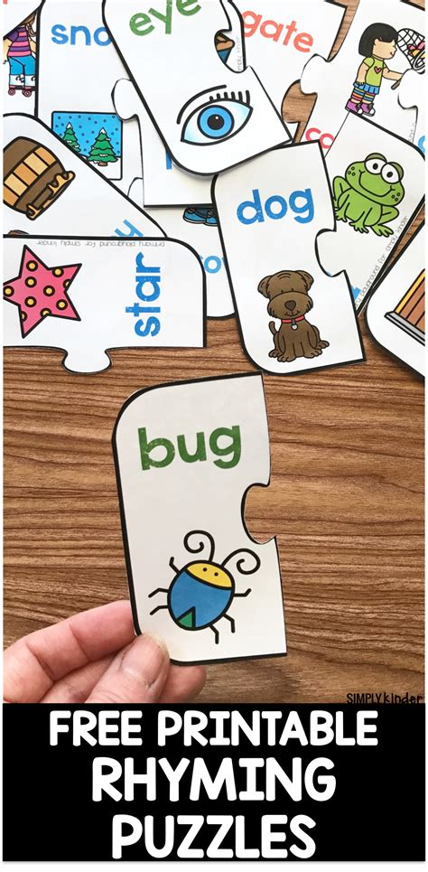 printable rhyming puzzles free printable rhyming puzzles simply kinder