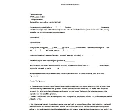rental agreement template free pdf word documents