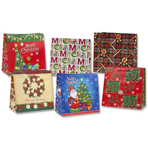 wholesale matte christmas gift bag 6 assorted horizontal