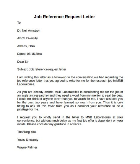 Letter For Work Request Reference Letter 7 Free Sles Exles Formats