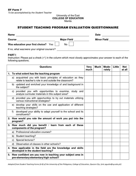 evaluation form template evaluation free template student evaluation form