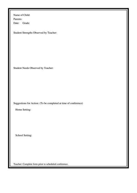 student observation form printable