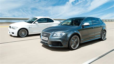 audi rs3 vs bmw 1 series m coupe top gear