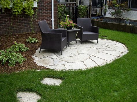 backyard stone patio ideas great backyard patio ideas with stone floor with black chair and coffee table green