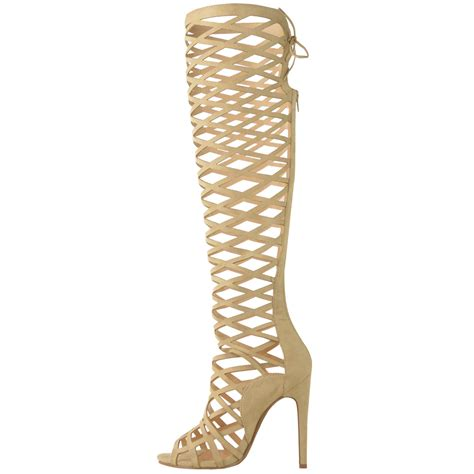 strappy knee high heels womens cut out lace knee high heel boots gladiator
