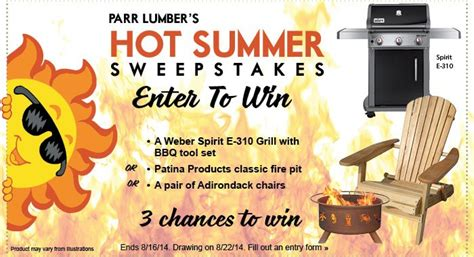 Sweepstake Contest - win a weber grill in our hot summer sweepstakes parr lumber