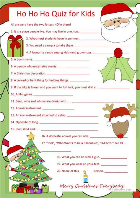 printable christmas quiz esl ho ho ho quiz for kids worksheet free esl printable