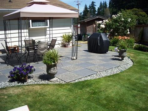 green backyard ideas inexpensive patio ideas designed by green backyard with grey stone floor and black