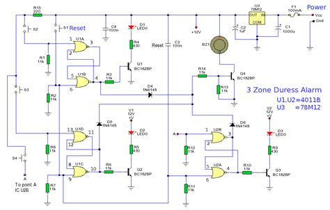 how to build 3 zone duress alarm circuit diagram