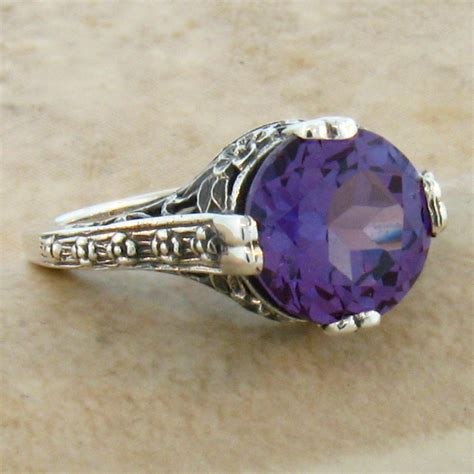 4 ct color changing lab alexandrite antique style 925