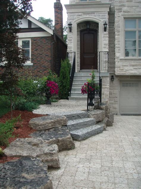 front yard stairs interlocking tumbled driveway and flagstone steps