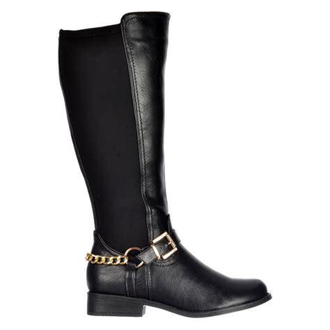 shoekandi knee high wide calf flat boot