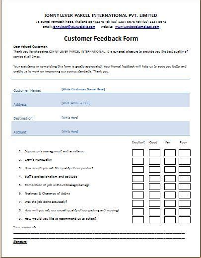 template of feedback form customer feedback form template microsoft templates