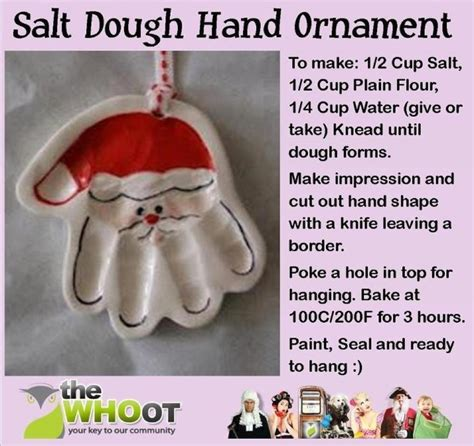 salt dough santa handprint ornament christmas pinterest