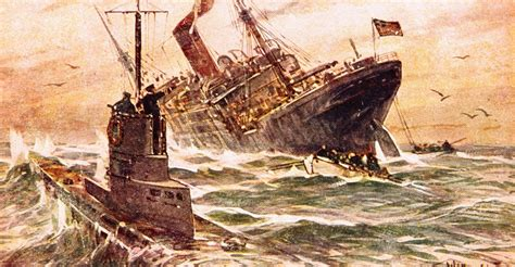 unrestricted u boat warfare ww1 illustration of submarine warfare in world war i by willy
