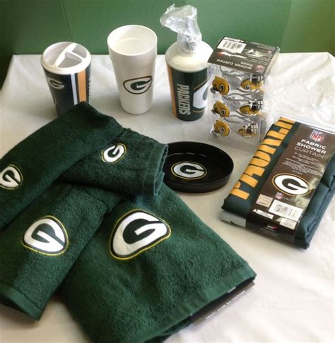 Green Bay Packers Bathroom Accessories Green Bay Packers Bath 21 Set Soap Shower Curtain Hooks Dish Towel New