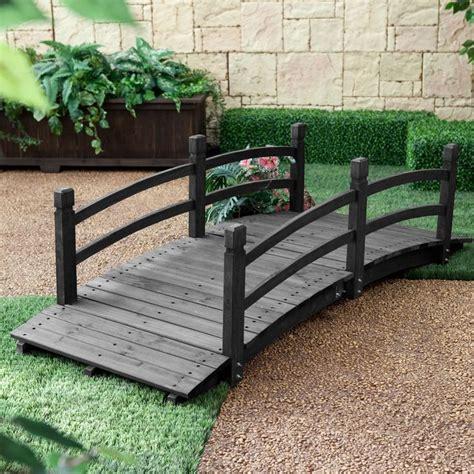 wooden garden bridge 6 ft outdoor wooden garden bridge with handrails in dark