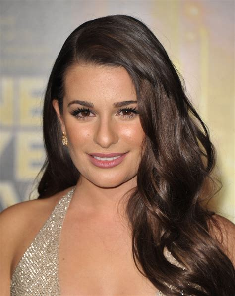 a side part with long hair and a swoop and a cross lea michele long side part long side part lookbook