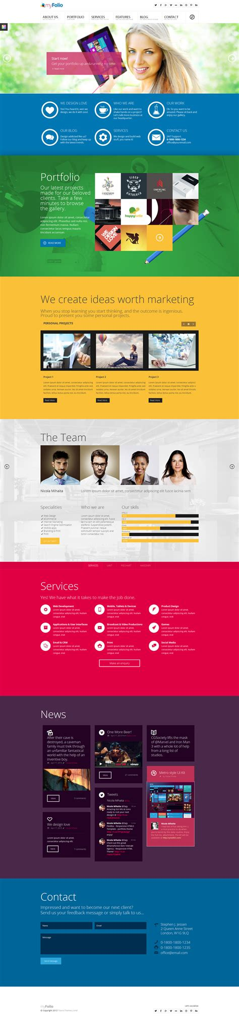 single page parallax template myfolio parallax onepage html5 template by dajydesigns
