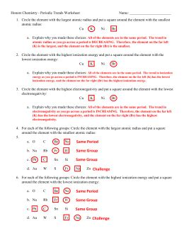 Honors Chemistry Worksheet 3 3 Periodic Trends by Periodictrends Ws Key1