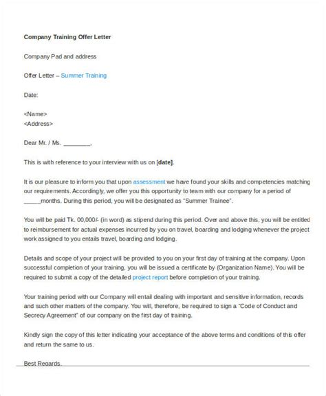 Offer Letter Sle From The Company Company Offer Letter Template 7 Free Word Pdf Format Free Premium Templates