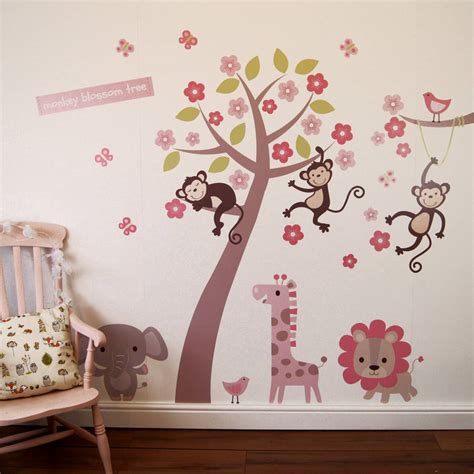 blossom tree wall sticker pastel blossom tree with animals wall sticker by parkins