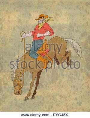 illustration of rodeo cowboy riding bucking bull on