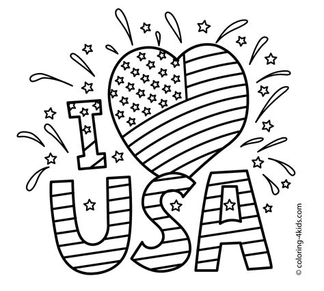 printable coloring pages july 4th i love usa coloring pages july 4 independence day