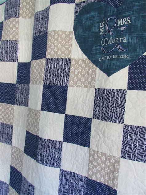 Navy And Gray Quilt Signature Wedding Quilt Navy Gray By Homesewnstudio On