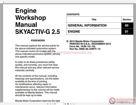 mazda engine workshop manual skyactiv   auto repair