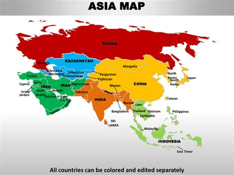 map of asia continent asia editable continent map with countries