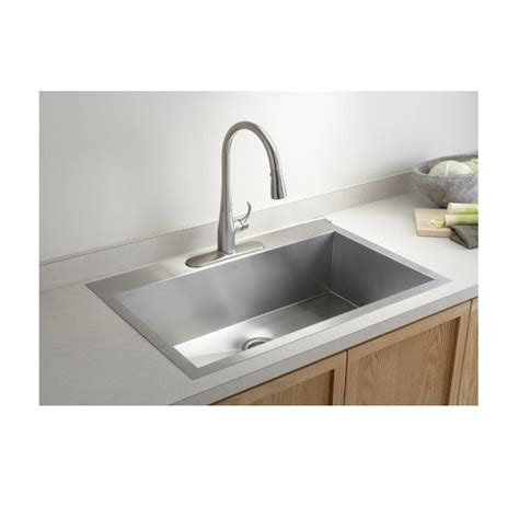 36 In Kitchen Sink 36 Inch Top Mount Drop In Stainless Steel Single Bowl Kitchen Sink Zero Radius Design