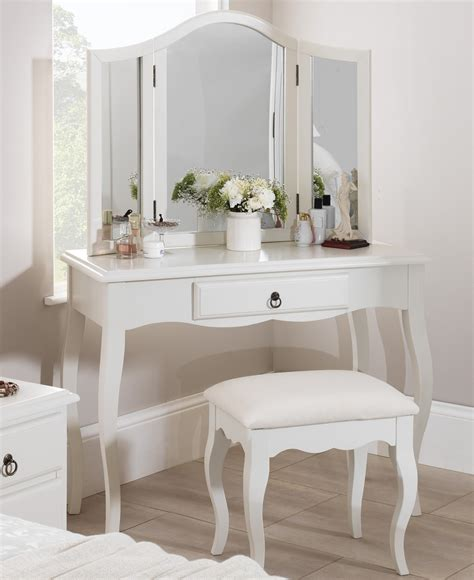 Mirrored Vanity Dressing Table Romance White Bedroom Furniture Bedside Table Chest Of
