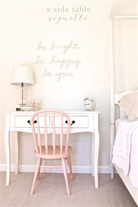 light pink bedroom chair beauty pinterest year of vignettes a girl s desk