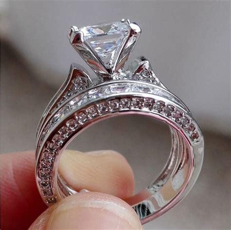 rings wedding sets 2pcs 925 silver white sapphire princess