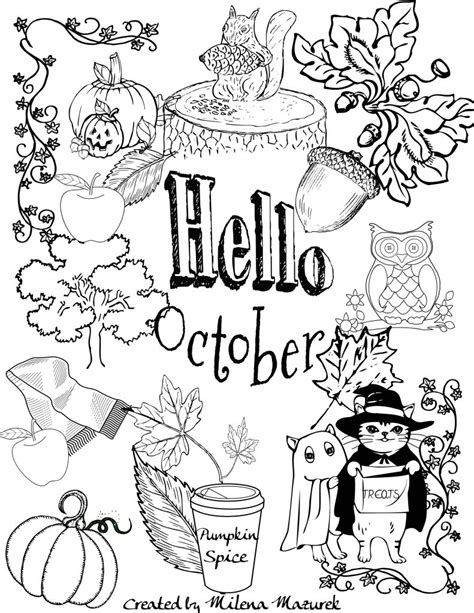 free hello october coloring page download and print