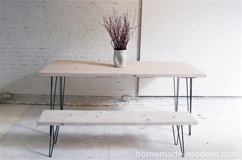 diy dining table hairpin legs modern ep3 1 white washed 2x12 table with hairpin legs