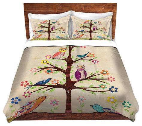 Owl Duvet owl bird tree twill duvet cover contemporary duvet covers and duvet sets by dianoche
