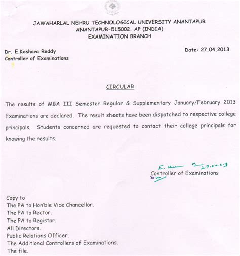 Jntu Mba Results 4th Sem by Jntu Anantapur Mba Regular Supple 3rd Sem Jan Results