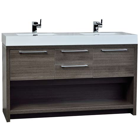 57 bathroom vanity buy lodi 57 inch contemporary double sink vanity in grey