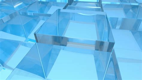 Blue Glass blue glass transparent cubes randomly moving in 3d space