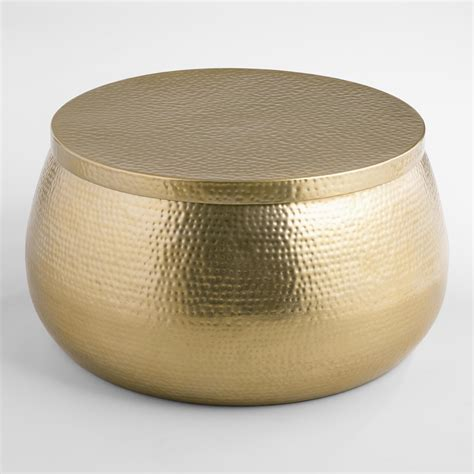 Gold Cala Hammered Coffee Table   World Market
