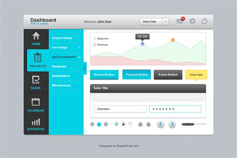 free ui layout tool dashboard ui elements psd