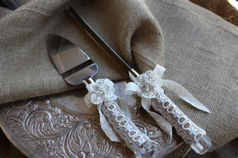 Wedding Knife Set by Wedding Cake Server And Knife Set Country Rustic Chic