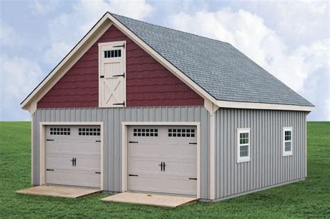 prefab garages with living quarters horizon structures 24x26 quot raised roof quot 2 car 2 story