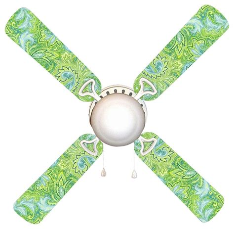 seaside green and blue paisley ceiling fan with light