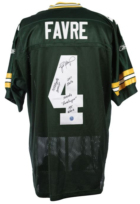 brett favre jersey lot detail 2000 s brett favre green bay packers signed inscribed jersey favre coa