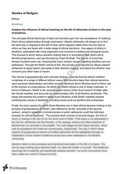 Bioethics Essay by Islam Bioethics Essay Studies Of Religion Ii Year 12 Hsc Studies Of Religion Ii Thinkswap