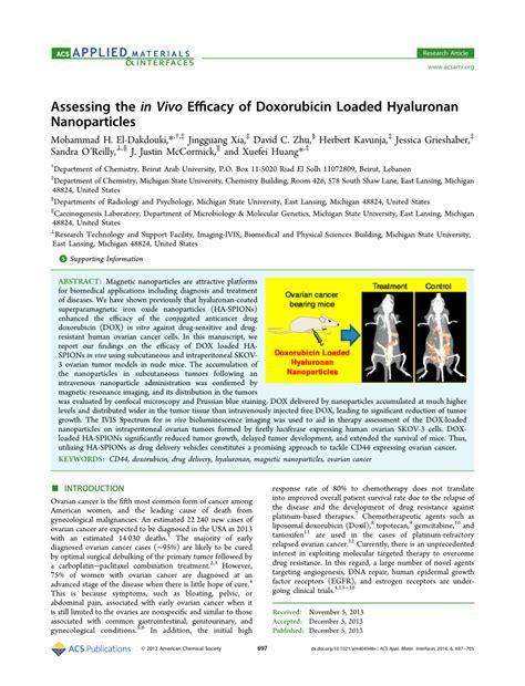 assessing the in vivo efficacy of doxorubicin loaded hyaluronan nanoparticles pdf