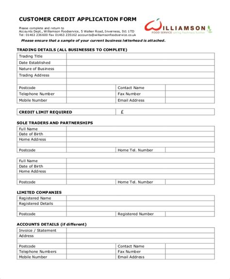 customer credit application form template 11 sle credit application forms free sle exle